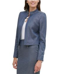 Tommy Hilfiger Open-front Chambray Jacket - Blue
