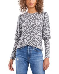 1.STATE Printed Puff-sleeve Top - Multicolor