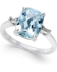 Macy's - Aquamarine (2-1/2 Ct. T.w.) And Diamond Accent Ring In Sterling Silver - Lyst