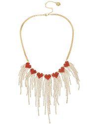 BCBGeneration Stone Fringe Heart Bib Necklace - Metallic