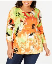 Joseph A Plus Size Printed Sweater - Multicolor