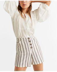 Mango Striped Linen Shorts - White