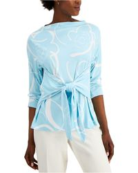 Alfani Printed Tie-front Top, Created For Macy's - Blue