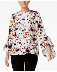 Olivia & Grace - Printed Bell-sleeve Top - Lyst