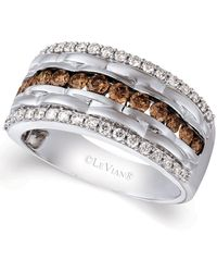 Le Vian Diamond Multi-row Ring (1-1/3 Ct. T.w.) In 14k White Gold - Metallic