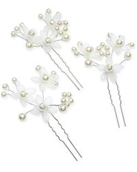 INC International Concepts Inc 3-pc. Silver-tone Imitation-pearl Flower Hair Pin Set, Created For Macy's - Metallic