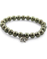 Macy's Beaded Pyrite Stretch Bracelet - Metallic