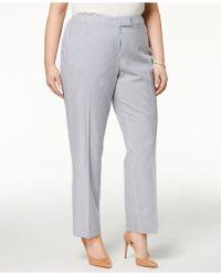 Anne Klein - Plus Size Straight-leg Striped Ankle Pants - Lyst