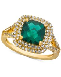 Macy's - Lab-created Emerald (1-1/2 Ct. T.w.) & White Sapphire (1/2 Ct. T.w.) Ring In 14k Gold-plated Sterling Silver - Lyst