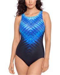 Reebok Printed High-neck One-piece Swimsuit - Blue