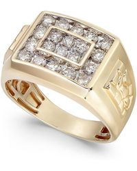 Macy's Diamond Cluster Nugget Detail Ring (1 Ct. T.w.) In 10k Gold Or 10k White Gold - Metallic