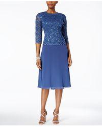 Alex Evenings Petite Cowl-back Tea-length Dress - Blue