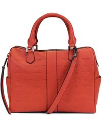 T Tahari Logo Leather Satchel - Red