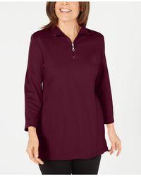 Karen Scott Cotton Half-zip Mock-neck Top, Created For Macy's - Purple