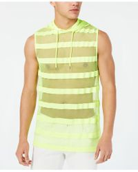 INC International Concepts Hooded Striped Mesh Tank, Created For Macy's - Green