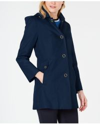 Anne Klein Water-resistant Hooded Raincoat - Blue