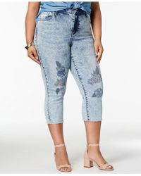 Seven7 Seven7 Trendy Plus Size Embroidered Jeans - Blue