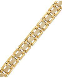 Macy's Men's Two-tone Link Bracelet In 10k Gold - Metallic