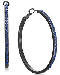 INC International Concepts - I.n.c. Jet-tone & Blue Crystal Hoop Earrings, Created For Macy's - Lyst