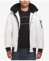 Sean John Mens Ultra Warm Bomber Jacket with Sherpa Trim Hood