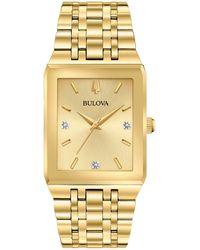 Bulova - Futuro Diamond-accent Gold-tone Stainless Steel Bracelet Watch 30x45mm - Lyst