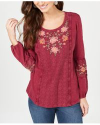Style & Co. - Embroidered-panel Peasant Top, Created For Macy's - Lyst
