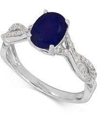 Macy's - Sapphire (1-1/2 Ct. T.w.) And Diamond (1/10 Ct. T.w.) Ring In 14k White Gold - Lyst