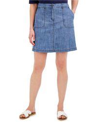 Karen Scott Plus Size Chambray Skort, Created For Macy's - Blue