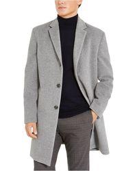 Tommy Hilfiger Addison Wool-blend Trim Fit Overcoat - Gray