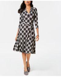 Charter Club Plaid V-neck Dress, Created For Macy's - Black