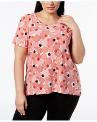 Anne Klein - Plus Size Printed High-low Top - Lyst