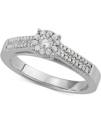 Macy's - Diamond Halo Engagement Ring (3/8 Ct. T.w.) In 14k White Gold - Lyst