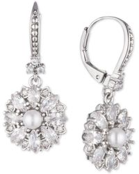 Marchesa - Silver-tone Crystal & Imitation Pearl Cluster Drop Earrings, Created For Macy's - Lyst