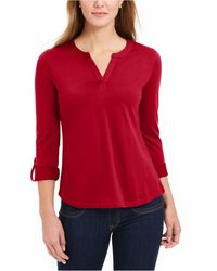 Charter Club Supima® Cotton Split-neck Top, Created For Macy's - Red