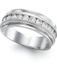 Macy's Men's Diamond Milgrain Trim Ring In 14k White Gold (1 Ct. T.w.)
