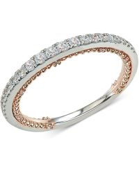 Macy's - Diamond Two-tone Anniversary Band (1/4 Ct. T.w.) In 14k White & Rose Gold - Lyst