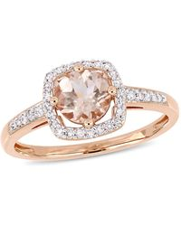 Macy's Morganite (4/5 Ct. T.w.) And Diamond (1/7 Ct. T.w.) Square Halo Ring In 10k Rose Gold - Metallic