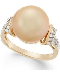 Macy's Cultured Golden South Sea Pearl (12mm) And Diamond (1/4 Ct. T.w.) Ring In 14k Gold - Metallic