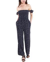 1.STATE Off-the-shoulder Smocked Jumpsuit - Blue