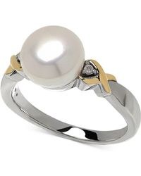 Macy's - Cultured Freshwater Pearl (9mm) And Diamond Accent Ring In 14k Gold And Sterling Silver - Lyst