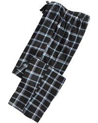 Perry Ellis Windowpane Plaid Fleece Pajama Pants - Black