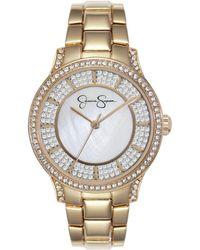 Jessica Simpson Crystal Encrusted Gold Tone Bracelet Watch 36mm - Metallic
