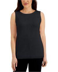 Karen Scott Cotton Scoop-neck Top, Created For Macy's - Black