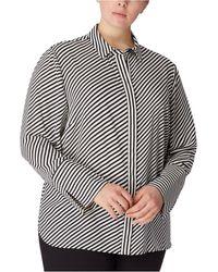 Anne Klein Plus Size Striped Slit-cuff Blouse - Black