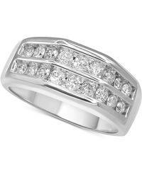 Macy's Diamond Double Row Ring (1 Ct. T.w.) In 10k White Gold And 10k Yellow Gold - Metallic