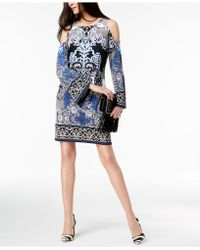 INC International Concepts Inc Printed Cold-shoulder Sheath Dress, Created For Macy's - Blue