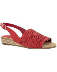 Easy Street Trudy Espadrille Sandals - Red