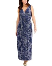 Charter Club Petite Dotted Floral-print Maxi Dress, Created For Macy's - Blue