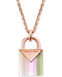 Michael Kors Kors Colour Semi-precious Sterling Silver Padlock Necklace - Metallic