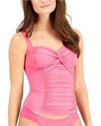 La Blanca Twisted Bandeau Tankini Top - Pink